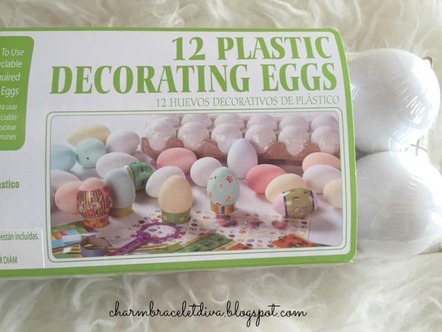 12 plastic decorating eggs in a carton