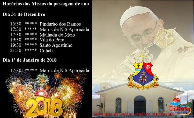 Programação das missas da passagem de ano na Paróquia de Nossa Senhora Aparecida