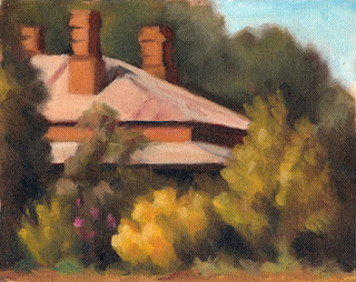 Oil painting of a Victorian-era brick house surrounded by trees and shrubs.