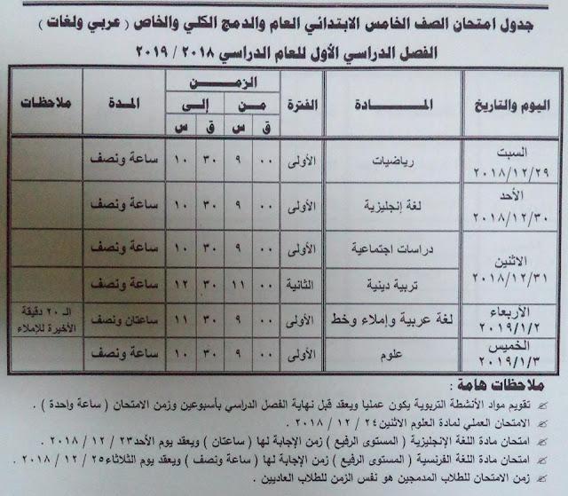 الشهادة الابتدائية :جداول امتحانات محافظة مطروح 2018-2019 (التعليم الابتدائى) الفصل الدراسى الأول