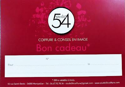 Bon cadeau proposé au Studio 54, salon de coiffure à Montpellier.