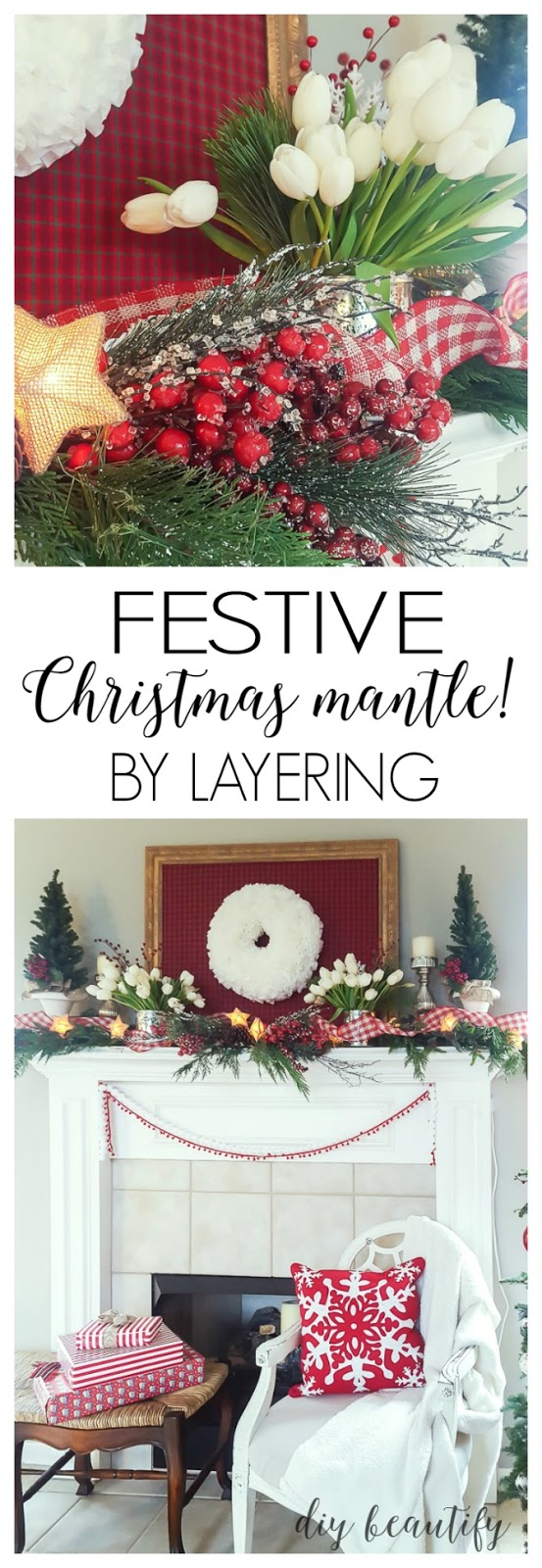 Decorating a mantle with layers adds such beauty and depth! Find out how I decorated my festive Christmas mantle at diy beautify!