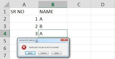 Restrict Duplicate in excel, Data validation in Excel