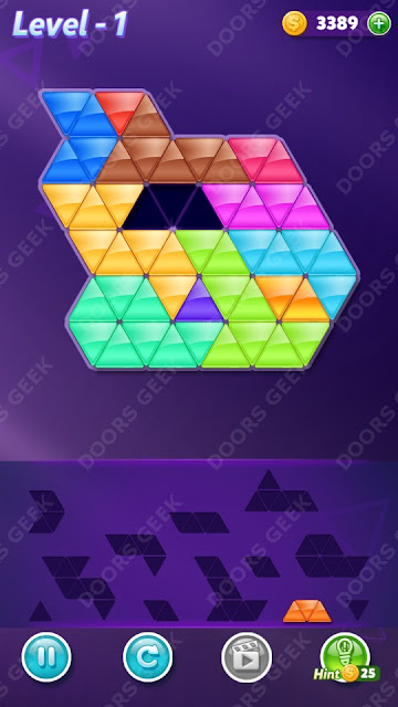 Block! Triangle Puzzle 12 Mania Level 1 Solution, Cheats, Walkthrough for Android, iPhone, iPad and iPod