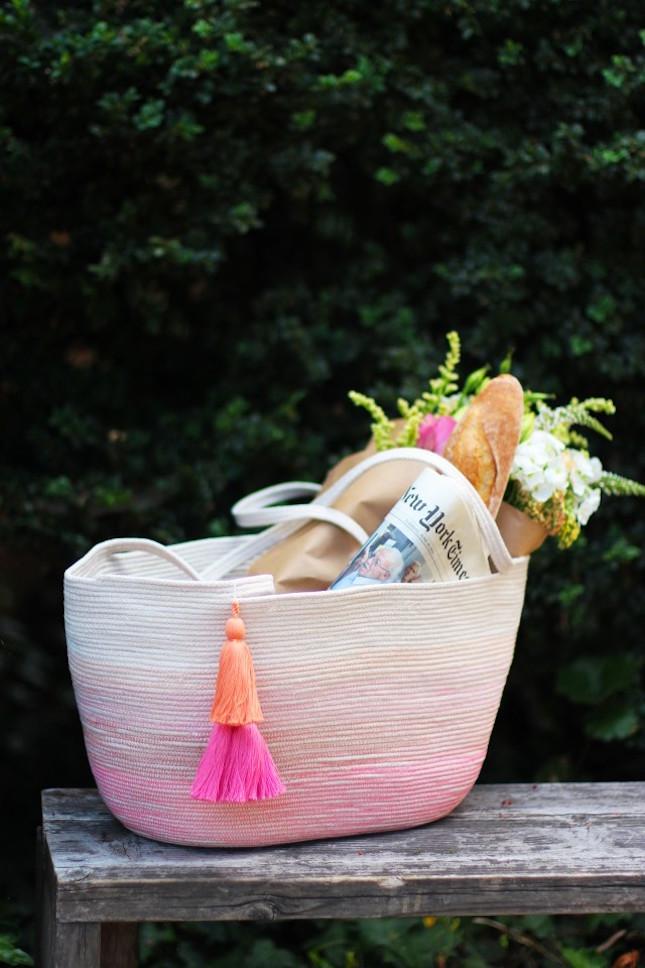 cesta de cuerda Tutorial para hacerla diy
