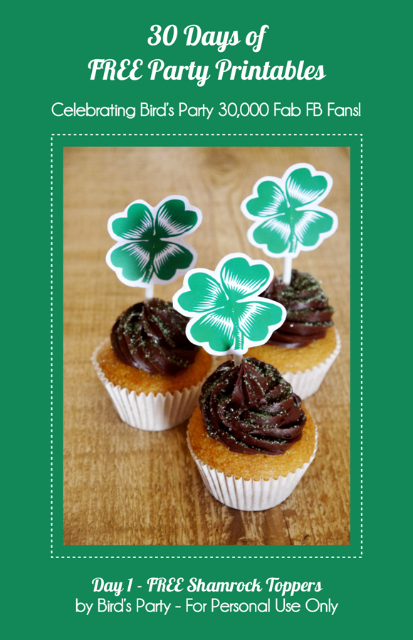 Free Printable Shamrock Cupcake Party Toppers - BirdsParty.com