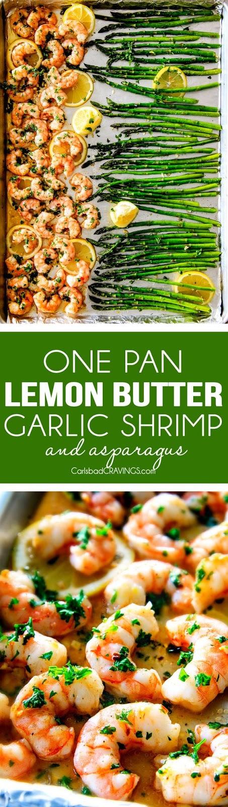 Roasted Lemon Garlic Butter Shrimp and Asparagus