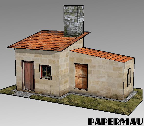 Papermau more one little house paper model for dioramas for Building model houses