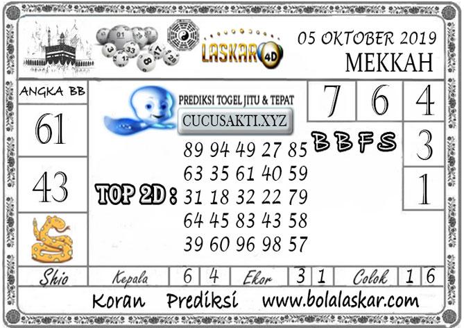Prediksi Togel MEKKAH LASKAR4D 05 OKTOBER 2019