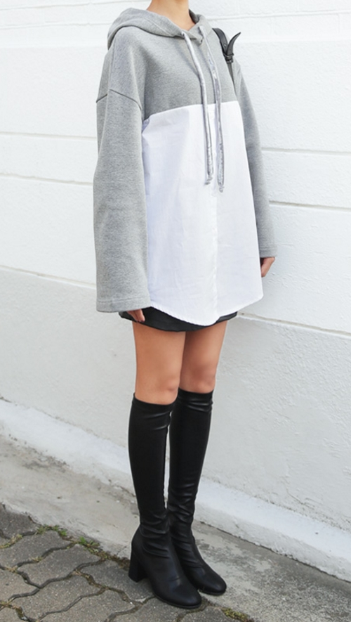 Shirt Contrast Hood Sweatshirt