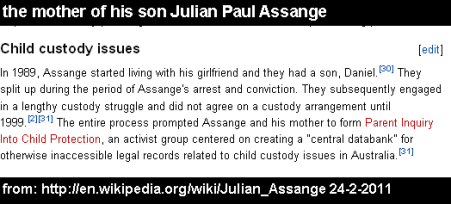 the mother of his son Julian Paul Assange