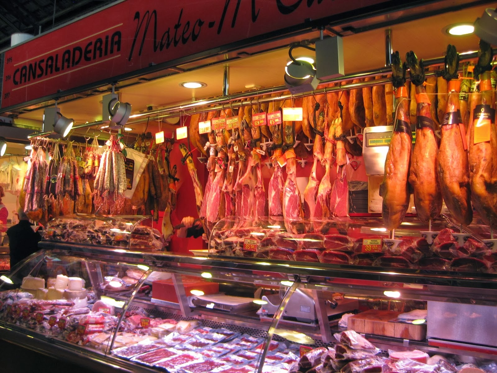 Barcelona - leg of ham and cured meats aplenty at La Boqueria market