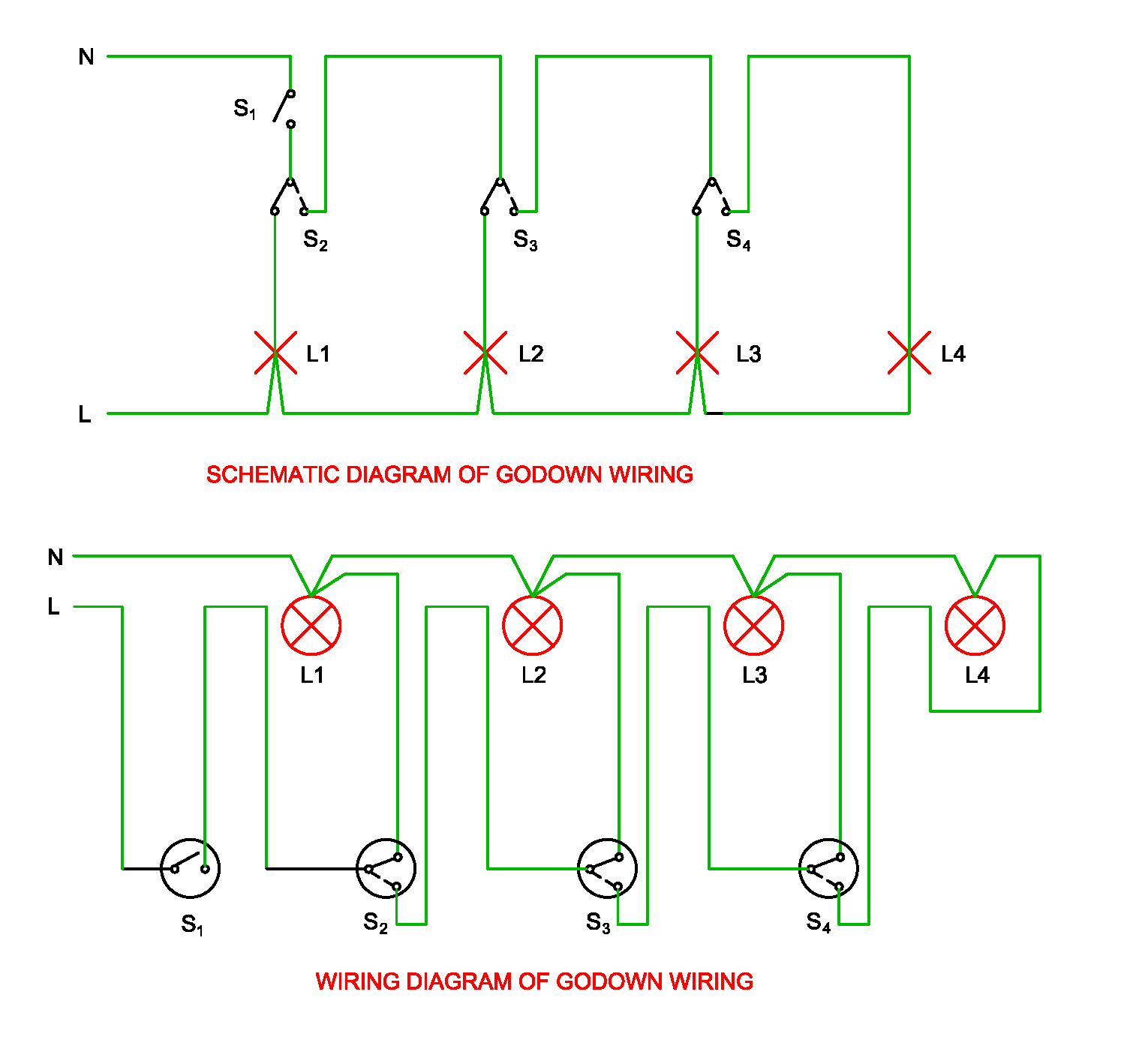 schematic and wiring diagram of go down wiring [ 1494 x 1418 Pixel ]