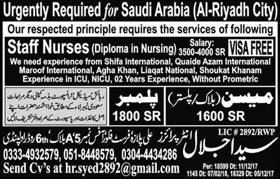 Jobs Syed Jalal Enterprises Rawalpindi Feb 2018