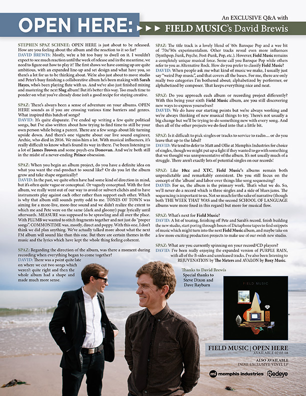 Discussions Magazine Music Blog: FIELD MUSIC: An EXCLUSIVE Q&A with