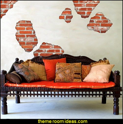 Faux Brick Breakaway Wall Decals  Tuscany Vineyard Style decorating - Tuscan Wall mural stickers - Tuscan themed kitchen accessories - grape decor - Tuscan theme decor - Wine barrel decor - rustic decor - Venice Italy decorating ideas - Italian Cafe - Old World  furniture - luxury bedding - tuscan themed bedroom decor - Tuscany kitchen decor