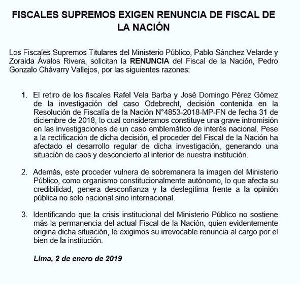 Pablo Sánchez Velarde y Zoraida Avalos Rivera solicitaron la inmediata renuncia del fiscal de la Nación, Pedro Gonzalo Chávarry