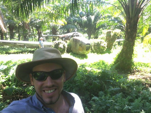 Selfie next to the Lockheed Ventura World War II plane at Talasea, Kimbe Bay