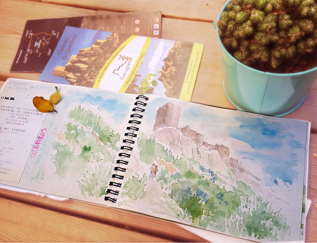 Cathars-Queribus, Watercolor Sketchbook