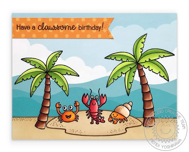 Sunny Studio Stamps: Best Fishes Have A Clawsome Birthday Lobster & Crab Card