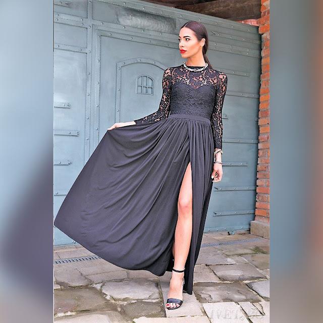 Εντυπωσιακό  μάξι μαύρο φόρεμα BARISA