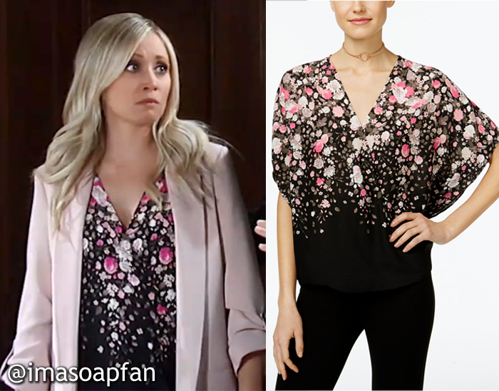 Lulu Spencer Falconeri, Emme Rylan, Black, Pink, and White Floral Top, GH, General Hospital