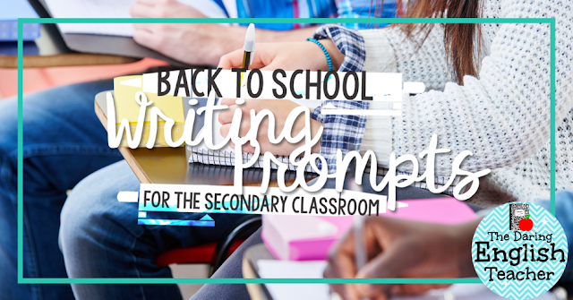 Back to school writing prompts and activities for the secondary classroom.