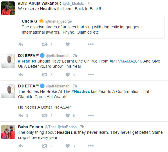 Nigerians call out The Headies Awards and Olamide after MAMA 2016