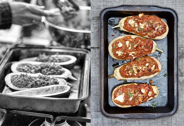 Gefüllte Aubergine mit Hackfleisch und Feta