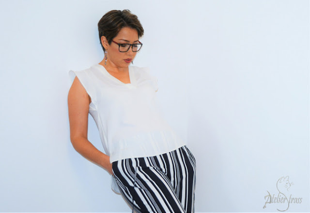 pantalon de rayas cpn top blanco