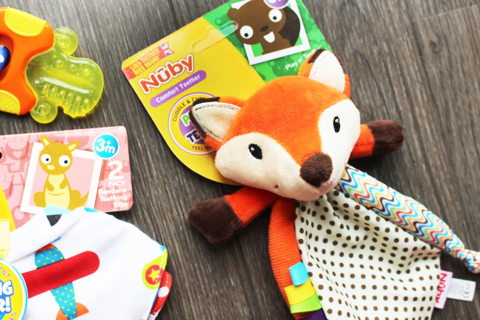 NUBY teething toy Fox Play n' Teethe  soothe teething remedies newborn