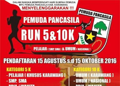 Pemuda Pancasila Run 5K 10K 2016 Karawang hari sumpah pemuda komplek stadion singaperbangsa