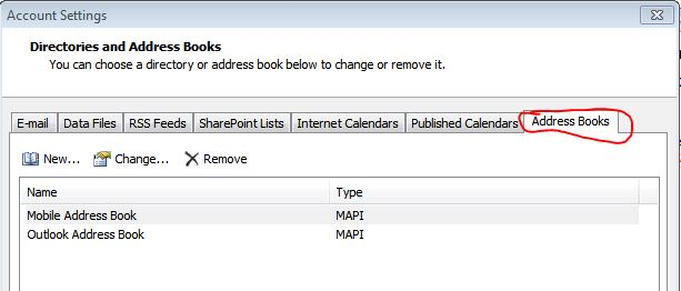 mobile address book outlook 2010