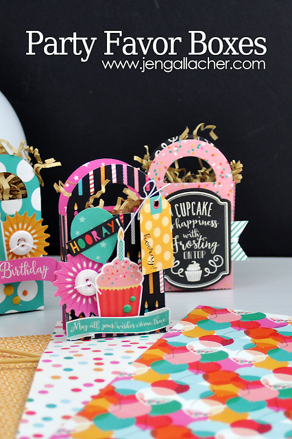 How to die cut party favor boxes from www.jengallacher.com. #partyfavor