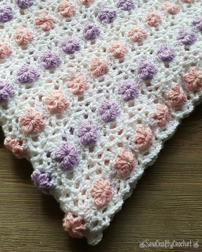 Crochet Lacy Blooms Baby Blanket ~ Sew Crafty Crochet