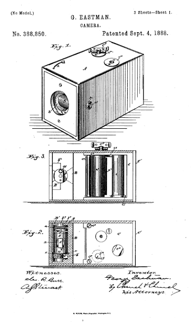 Page 1 of George Eastman's patent no. 388,850, for his film camera and roll film. 4 September 1888