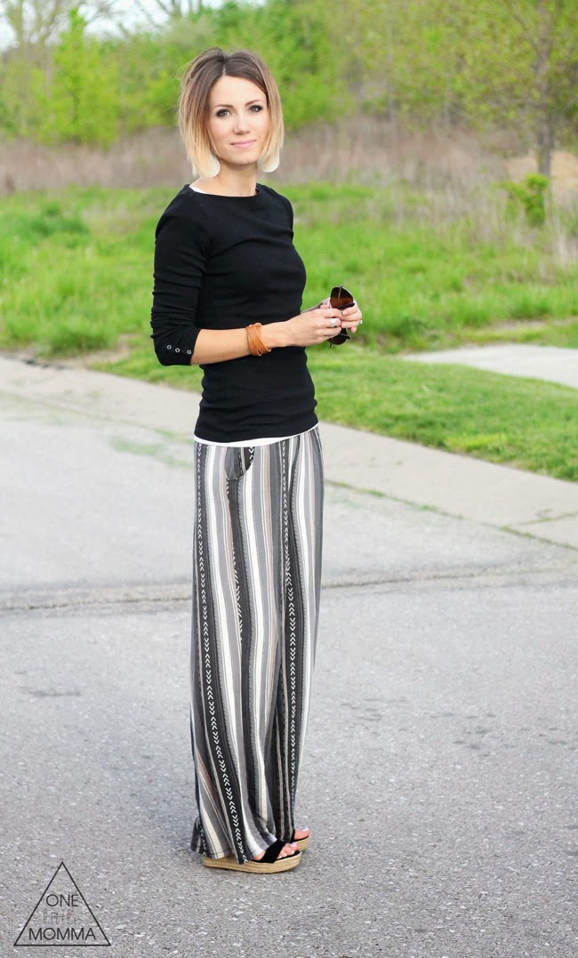 Black tee, neutral palazzo pant and wedges