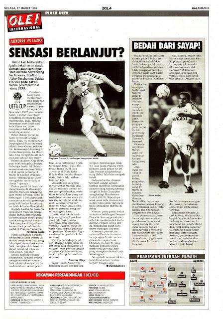 UEFA CUP 1998 AUXERRE VS LAZIO