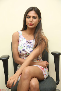 Nishi Ganda stunning cute in Flower Print short dress at Tick Tack Movie Press Meet March 2017 134.JPG