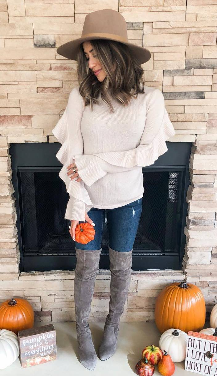 great outfit idea on thanksgiving day / hat + grey over knee boots + ruffle sweater + skinnies