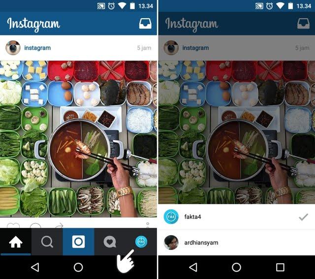 Tambah dan ganti akun Instagram dengan cepat