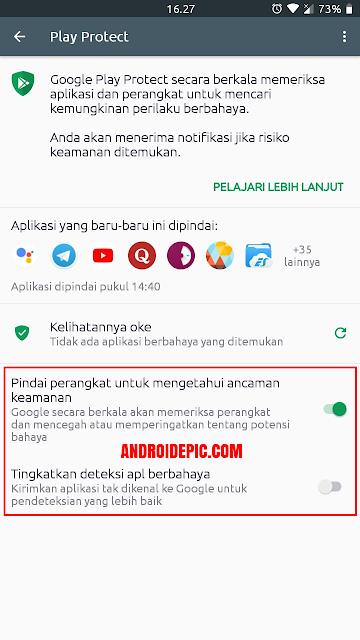 Iklan yang terdapat dalam malware ini biasa muncul ketika kalian install aplikasi tidak berasal dari Play Store. Untuk mencegah iklan pop-up ini aktifkan Google Play Protect.