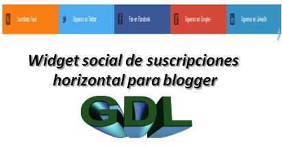Widget social de suscripciones horizontal para blogger