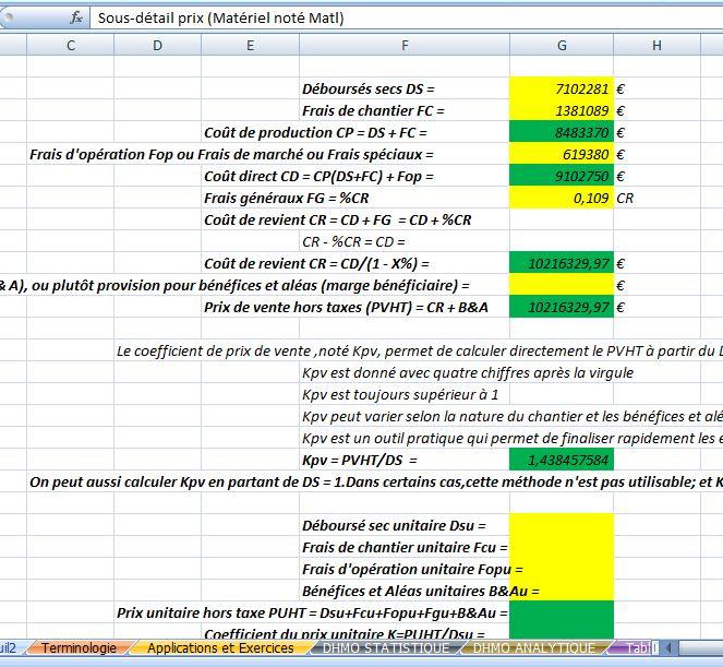 Tude de prix d finitions et mod les de calcul sur excel for Calcul prix construction maison