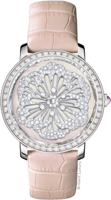 Brilliant Luxury♦Boucheron Paris Epure Je Pense À Toi white gold timepiece with diamonds and mother-of-pearl watch