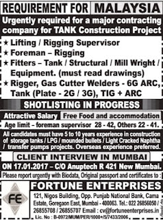 Tank Construction project jobs in Malaysia