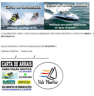 Curso de Arrais e Motonauta (Jets) em Registro-SP