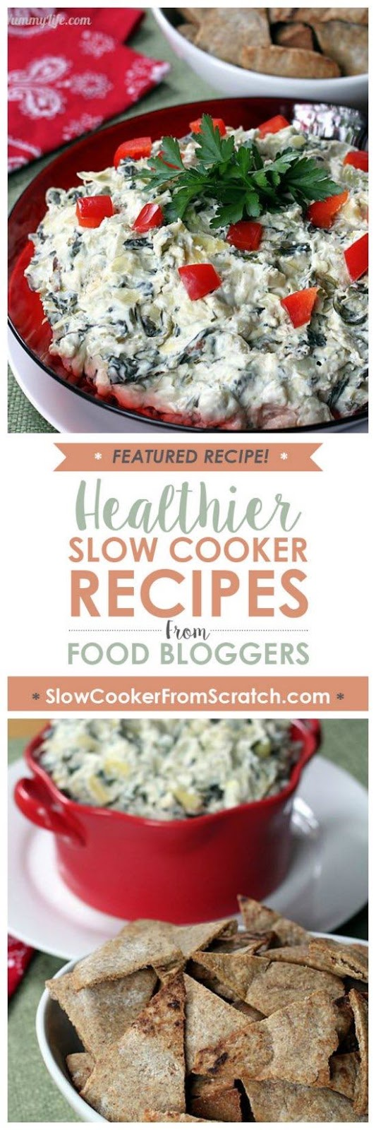 Slow Cooker Healthy Spinach Artichoke Dip from The Yummy Life featured on SlowCookerFromScratch.com