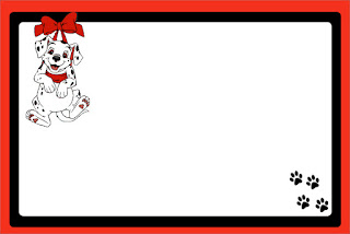 101 Dalmatians in Red and Black, Free Printable Invitations, Labels or Cards.