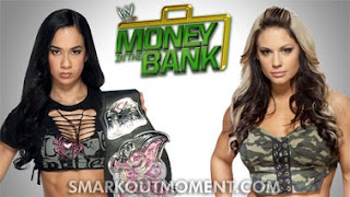 Money in the Bank Divas Kaitlyn vs AJ Lee Match Wardrobe Malfunction